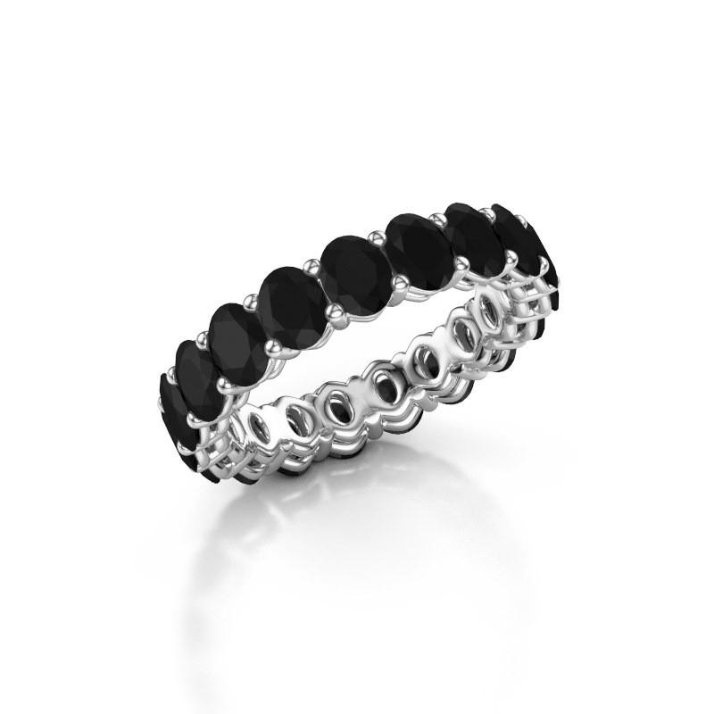 Aanschuifring Heddy OVL 3.5x4.5 585 witgoud zwarte diamant 4.788 crt