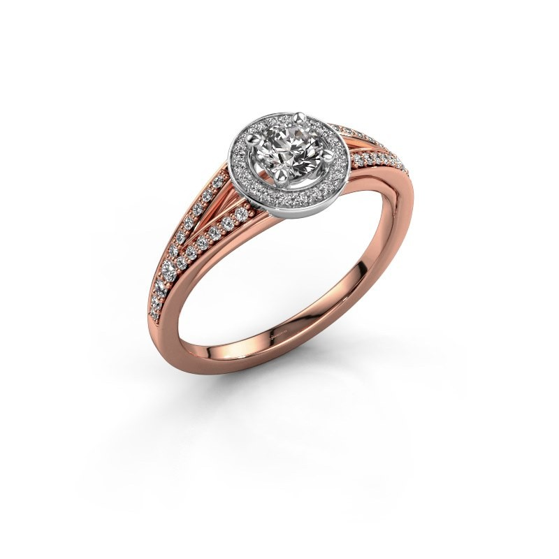 Aanzoeksring Angelita RND 585 rosé goud diamant 0.428 crt