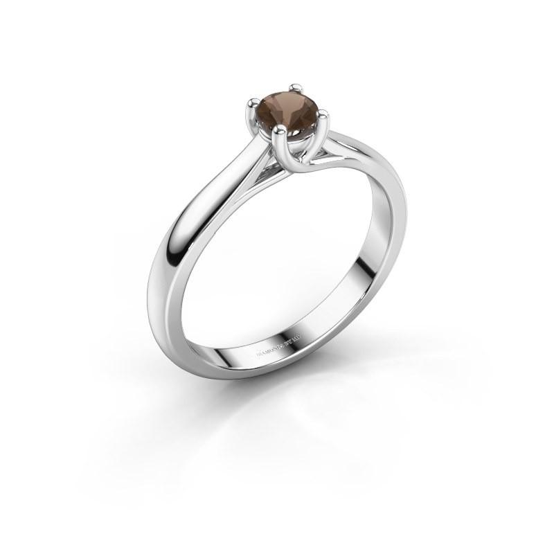 Engagement ring Mia 1 925 silver smokey quartz 4 mm