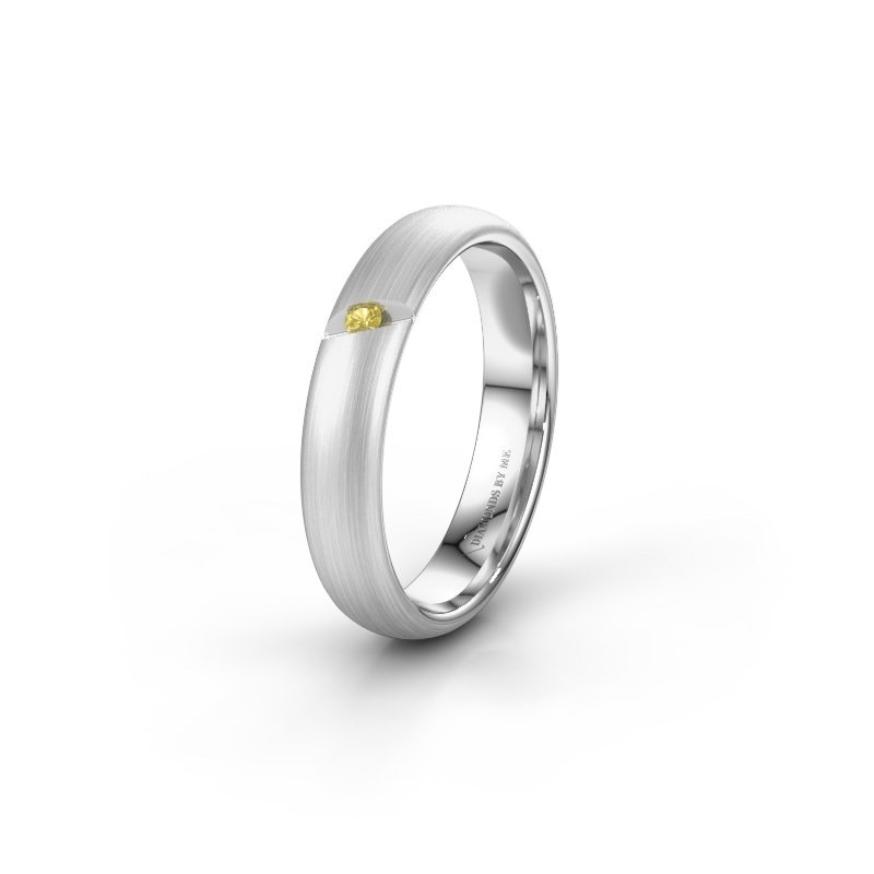 Wedding ring WH0176L34AP 585 white gold yellow sapphire ±4x1.7 mm
