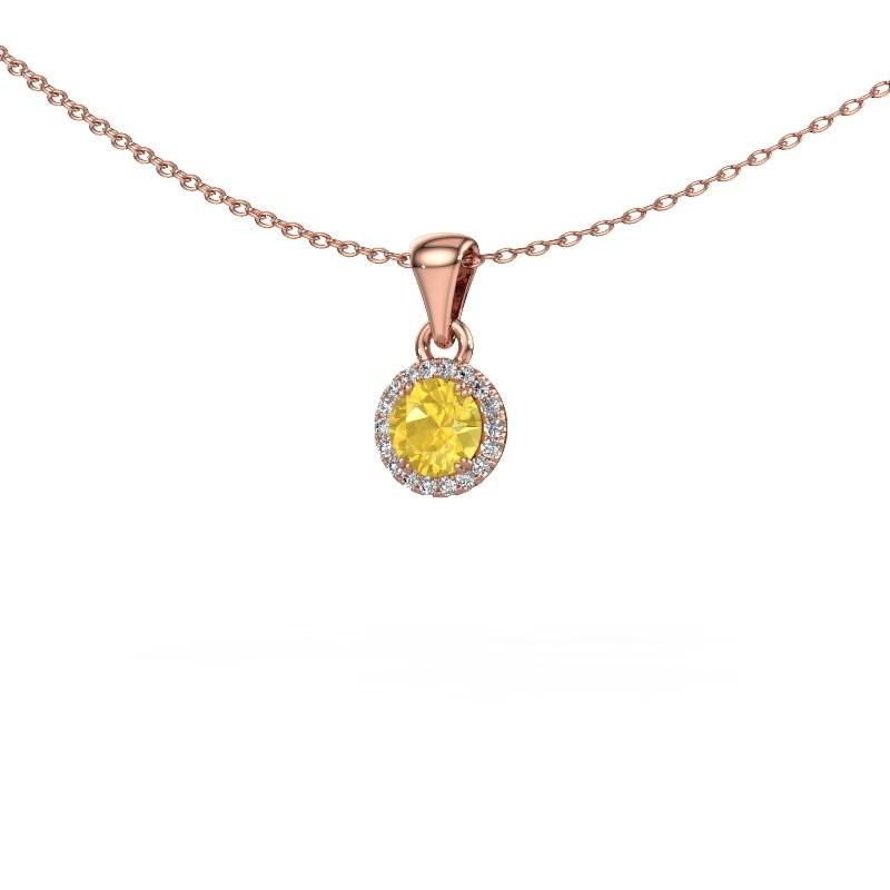 Hanger Seline rnd 375 rosé goud gele saffier 4.7 mm