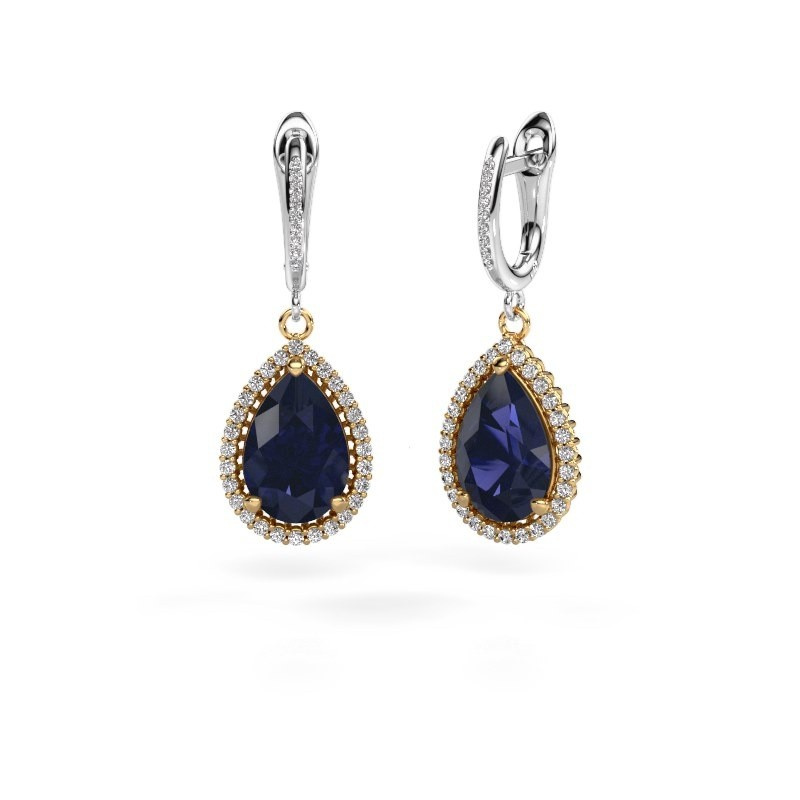 Drop earrings Hana 2 585 gold sapphire 12x8 mm