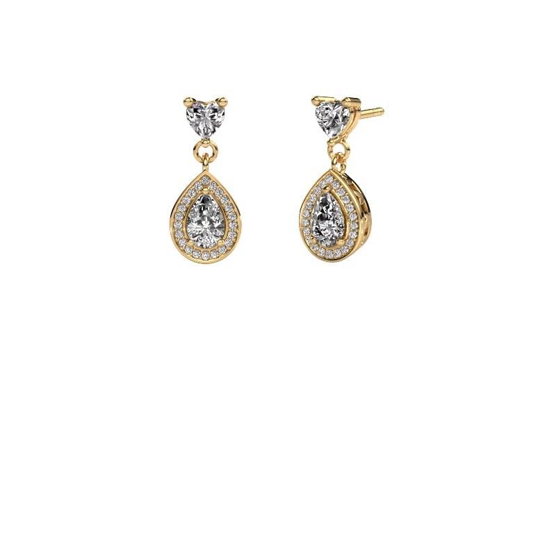 Drop earrings Susannah 375 gold diamond 1.51 crt