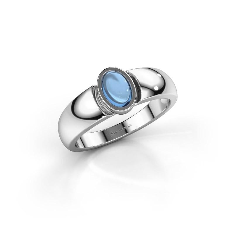 Ring Tonneke 925 silver blue topaz 6x4 mm