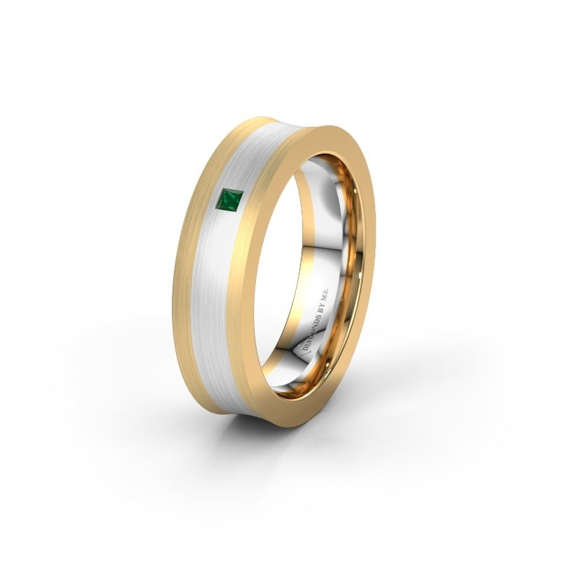 Wedding ring WH2238L2 585 gold emerald ±6x2.2 mm