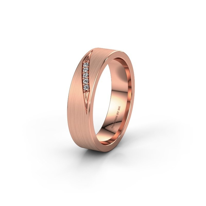 Trouwring WH2148L25AM 585 rosé goud lab created ±5x1.7 mm