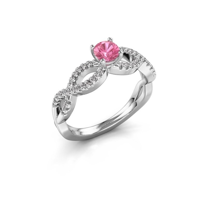 Verlovingsring Hanneke 925 zilver roze saffier 4.7 mm