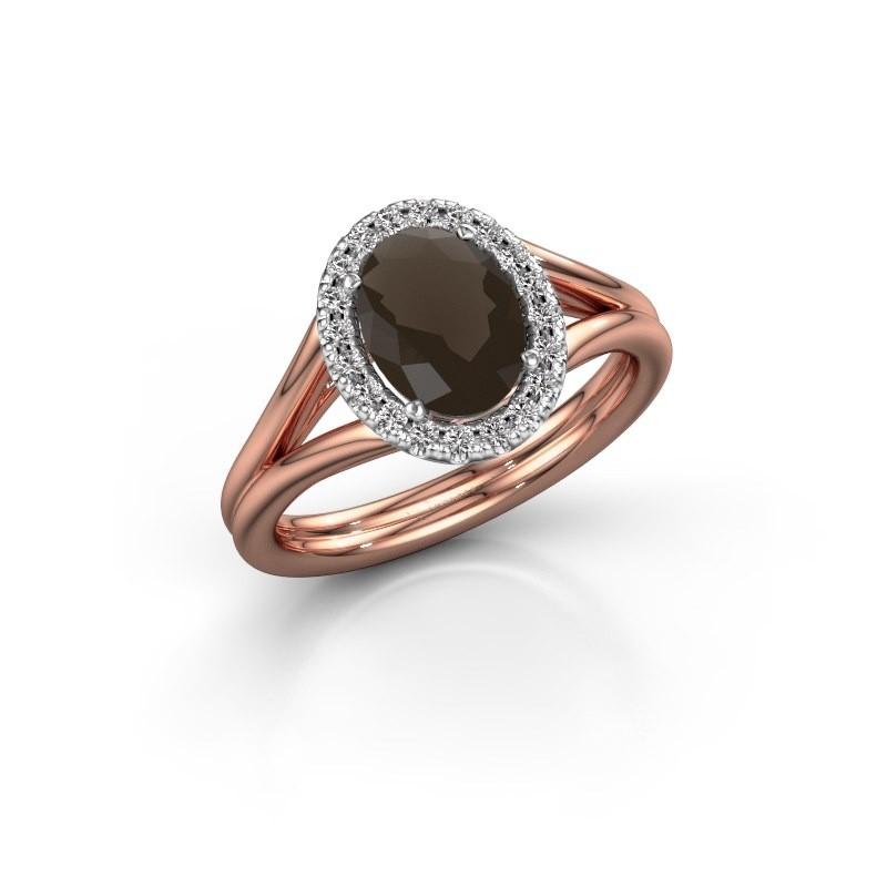 Engagement ring Rachele 1 585 rose gold smokey quartz 8x6 mm