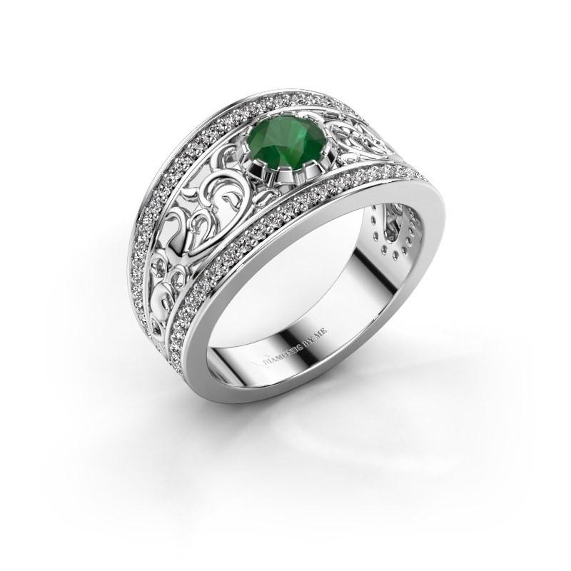 Ring Marilee 585 witgoud smaragd 5 mm
