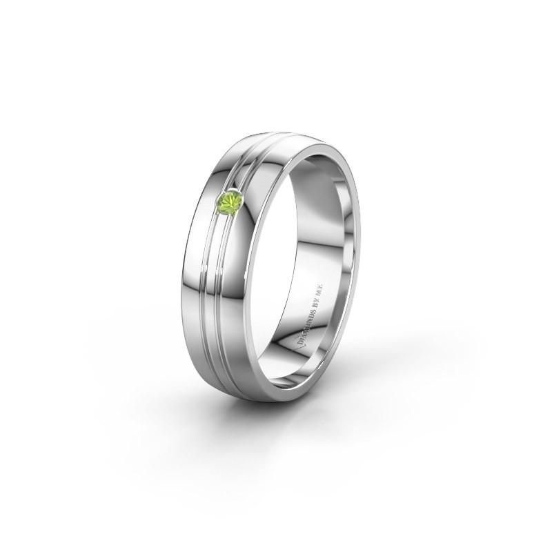 Wedding ring WH0420L25X 950 platinum peridot ±0.20x0.06 in