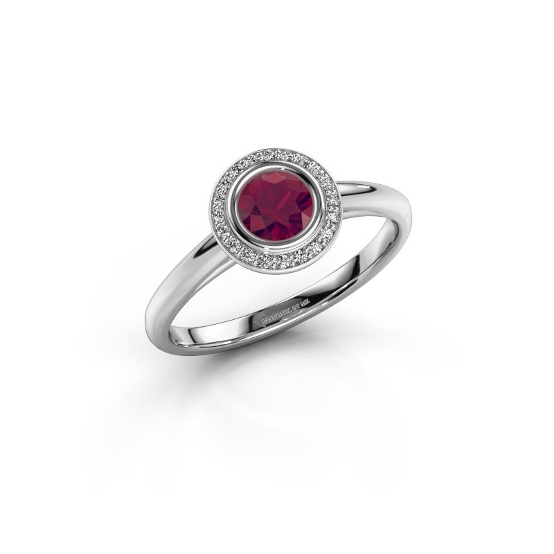 Promise ring Noud 1 RND 950 platinum rhodolite 4.7 mm
