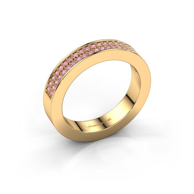 Aanschuifring Catharina 2 585 goud roze saffier 1.1 mm