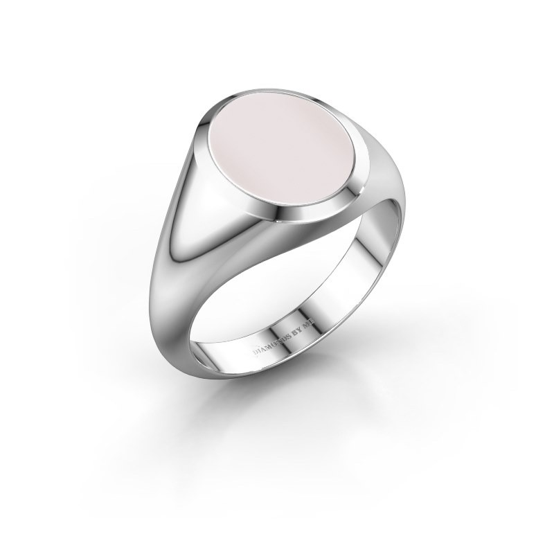 Signet ring Evon 2 375 white gold red sardonyx 12x10 mm