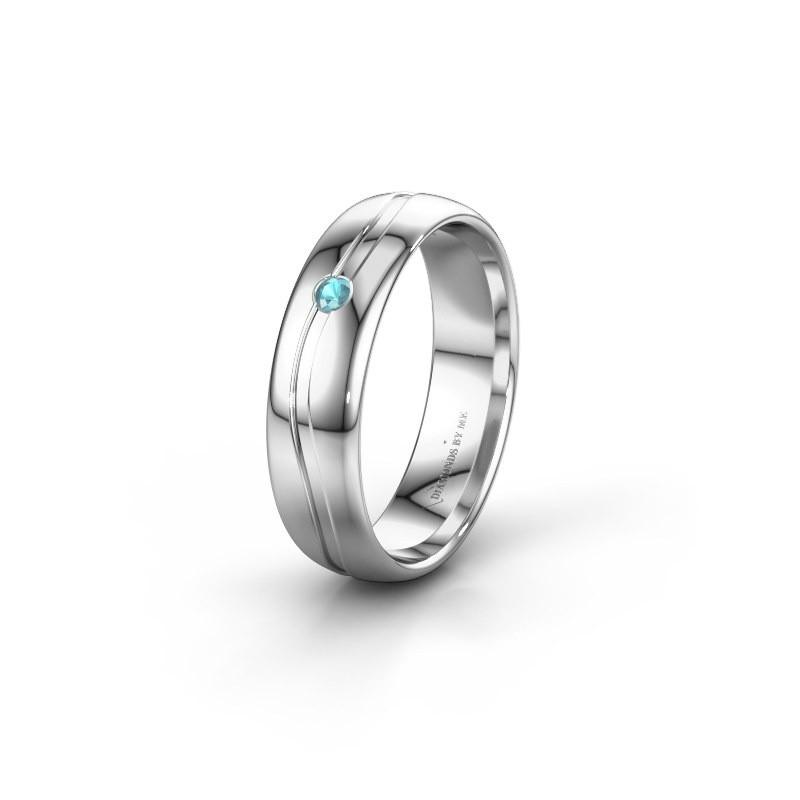 Wedding ring WH0905L35X 925 silver blue topaz ±0.20x0.07 in