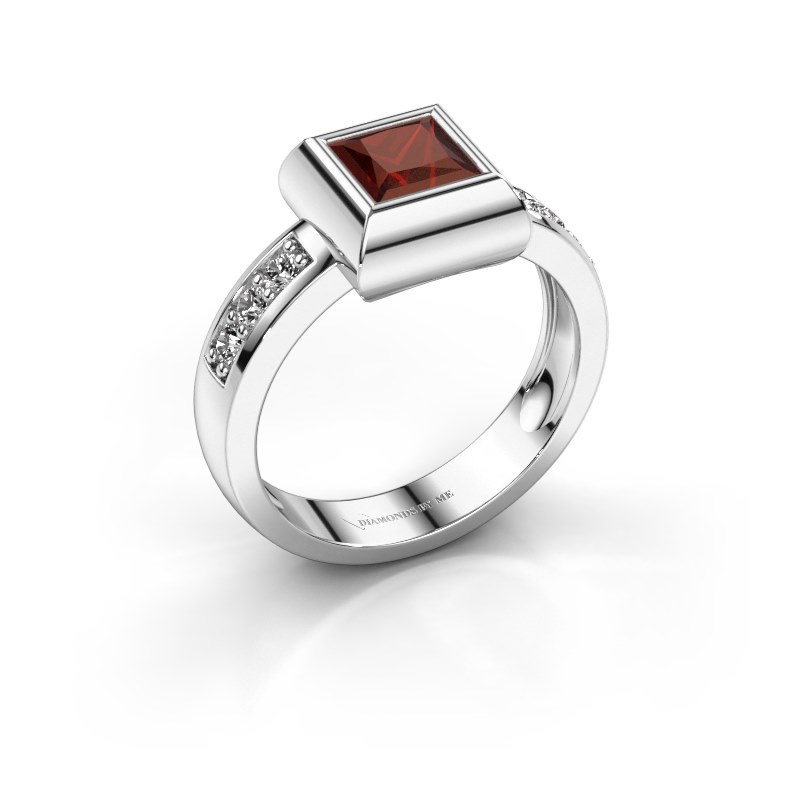 Ring Charlotte Square 925 silver garnet 5 mm