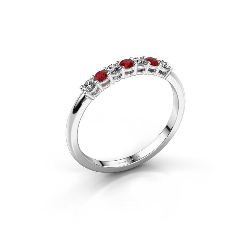 Verlobungsring Michelle 7 925 Silber Rubin 2 mm