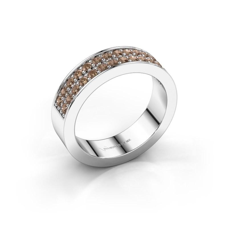 Stackable ring Catharina 6 950 platinum brown diamond 0.56 crt