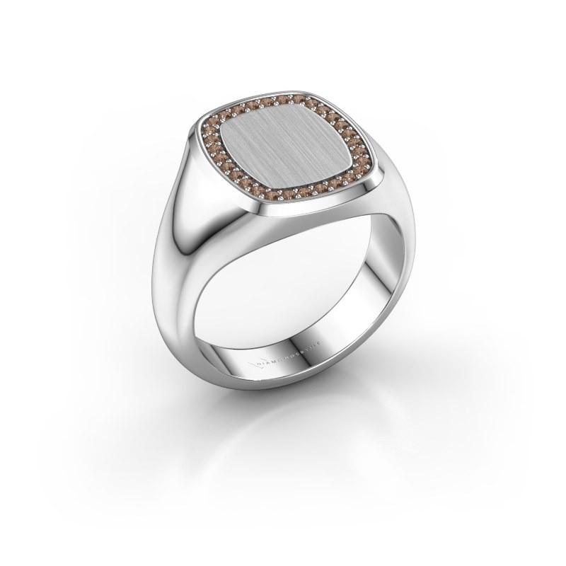 Heren ring Floris Cushion 3 925 zilver bruine diamant 0.225 crt