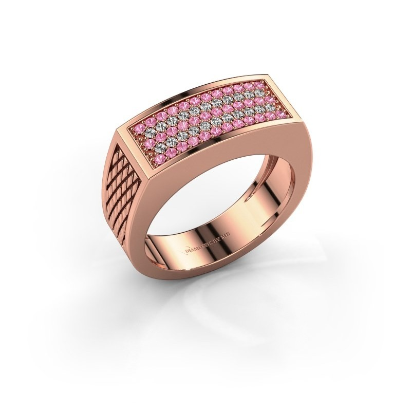 Heren ring Erwin 375 rosé goud roze saffier 1.2 mm
