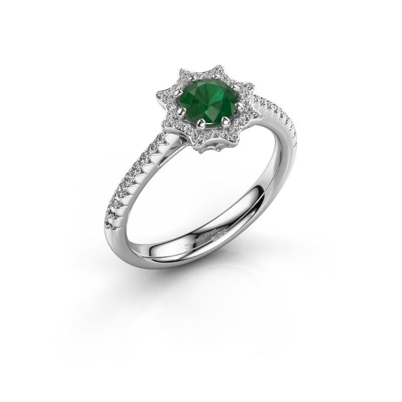 Aanzoeksring Zena 585 witgoud smaragd 5 mm