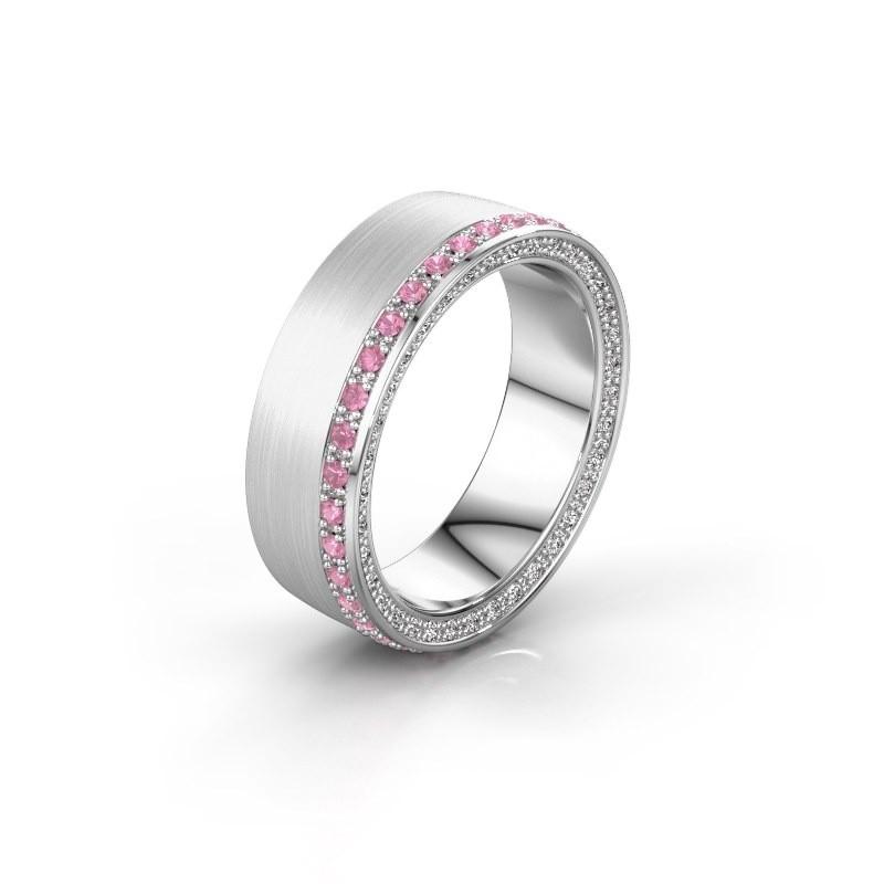 Trouwring WH2224L26C8 585 witgoud roze saffier 1.3 mm ±6,5x2.2 mm