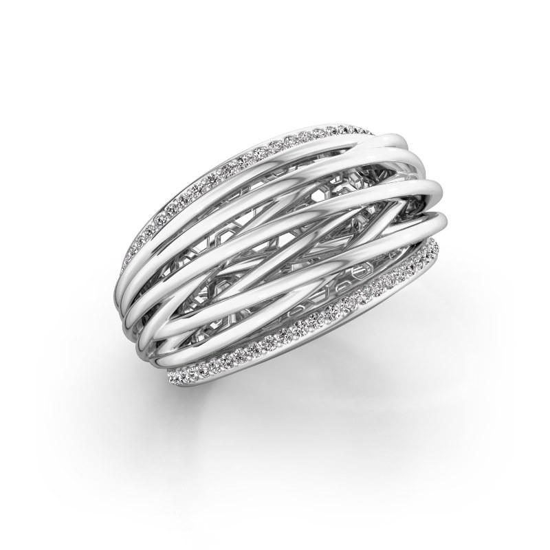 Ring Kirstin 950 platina zirkonia 1 mm