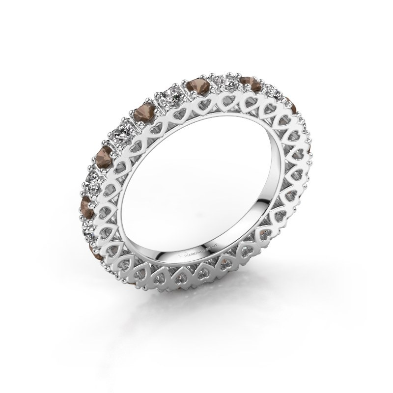 Stackable ring Hailey 925 silver smokey quartz 2.2 mm