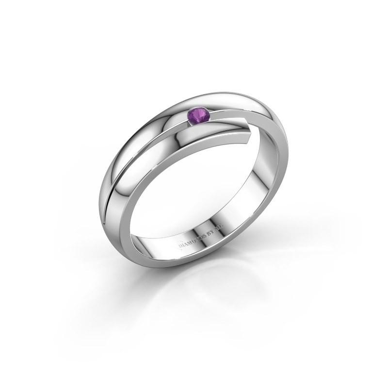 Ring Shela 585 witgoud amethist 2.2 mm