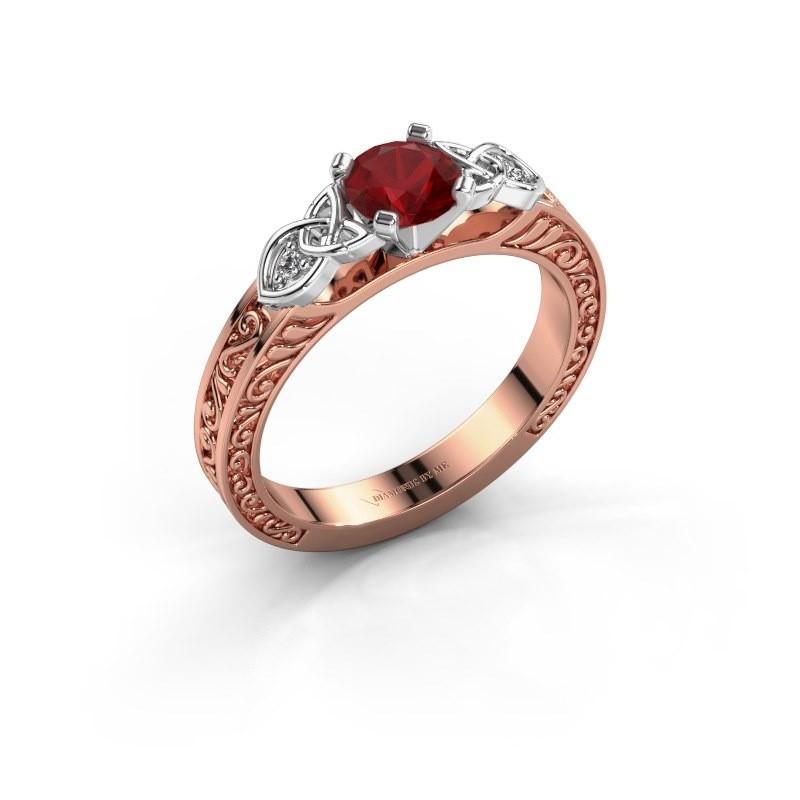 Verlovingsring Gillian 585 rosé goud robijn 5 mm