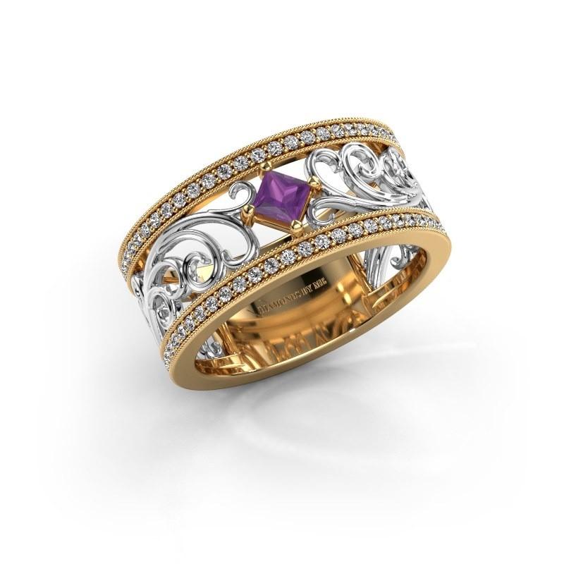 Ring Danae 585 goud amethist 3 mm