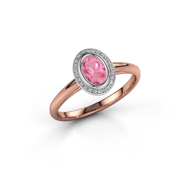 Verlovingsring Noud 1 OVL 585 rosé goud roze saffier 6x4 mm