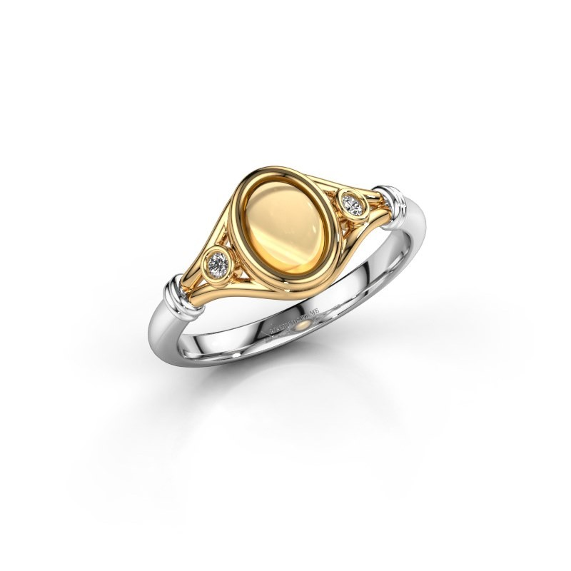 Ring Scarlett 585 goud citrien 7x5 mm