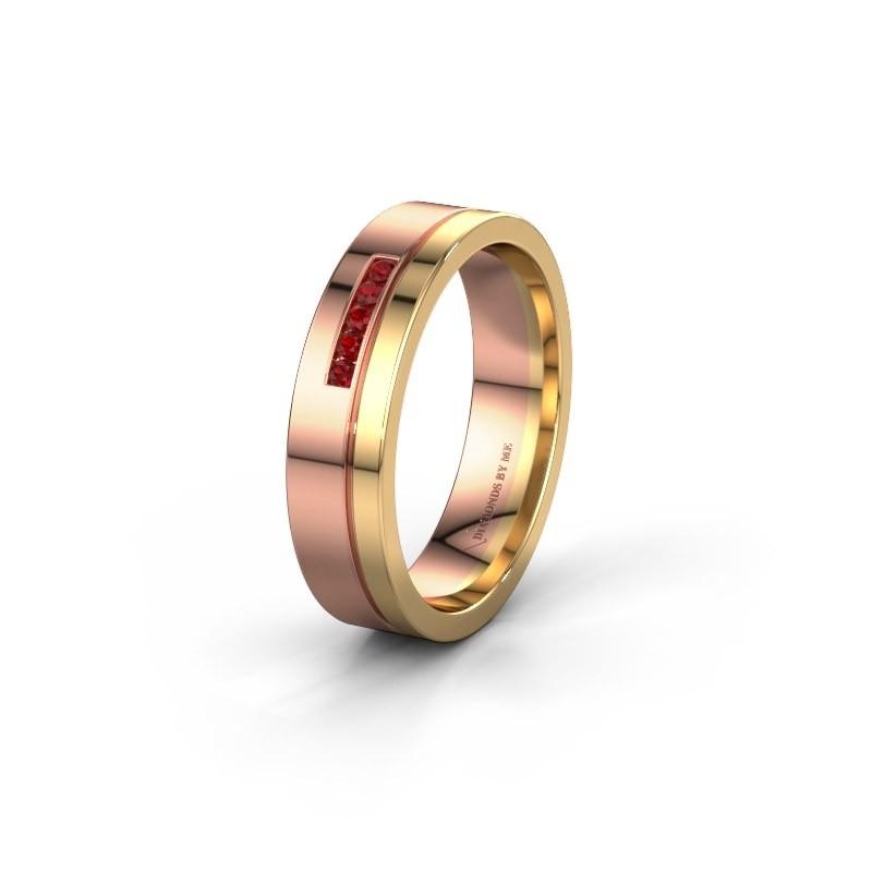 Trouwring WH0307L15AP 585 rosé goud robijn ±5x1.7 mm