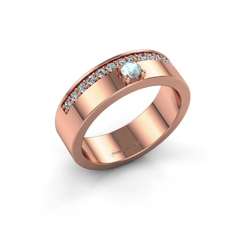 Ring Vicki 375 rosé goud aquamarijn 3 mm