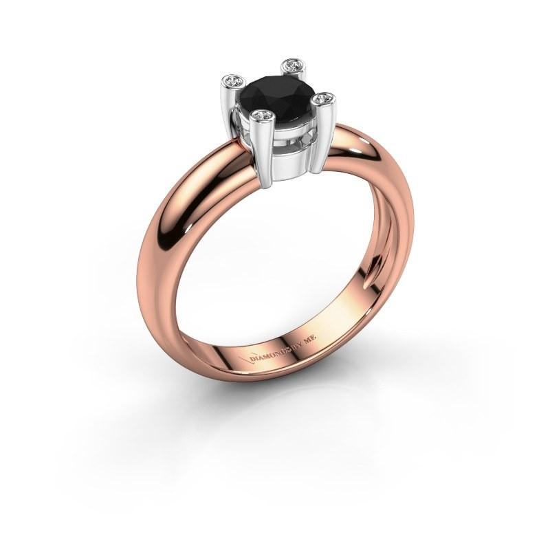 Ring Fleur 585 rosé goud zwarte diamant 0.50 crt