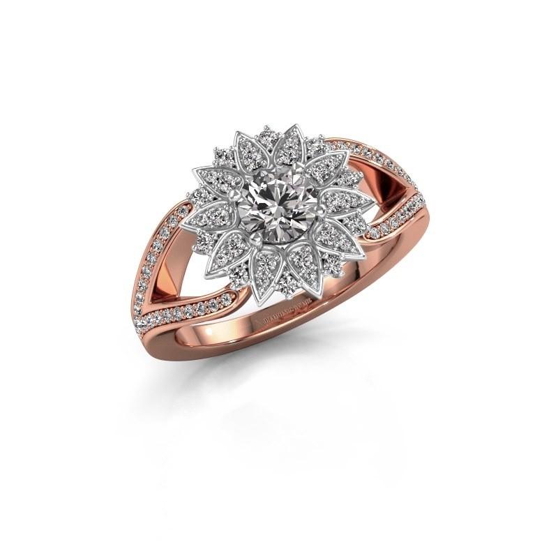 Aanzoeksring Chasidy 2 585 rosé goud zirkonia 5 mm