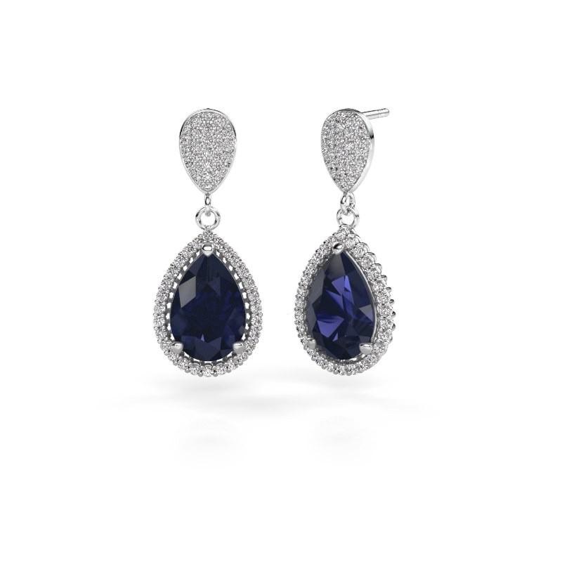 Drop earrings Cheree 2 585 white gold sapphire 12x8 mm