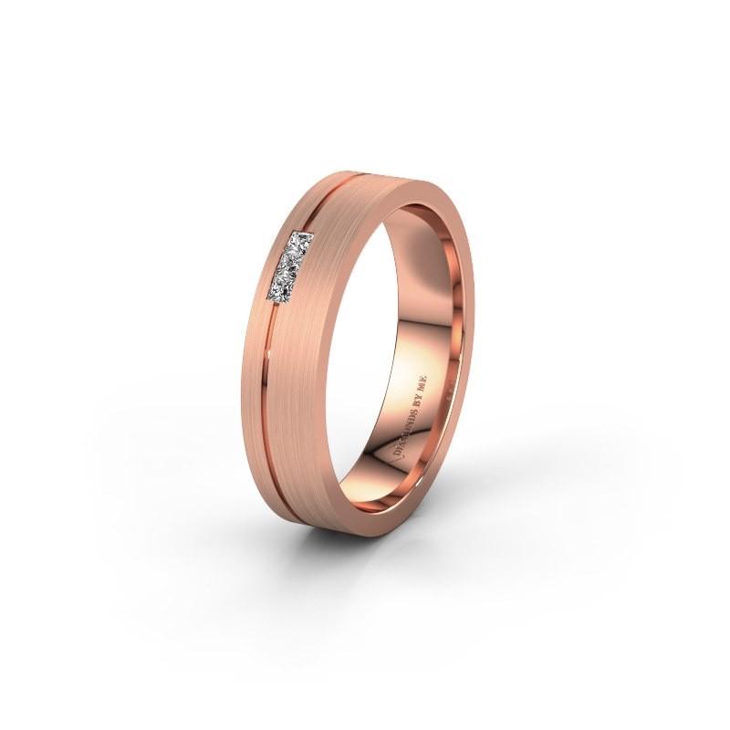 Trouwring WH0158L14X 375 rosé goud diamant ±4,5x1.4 mm