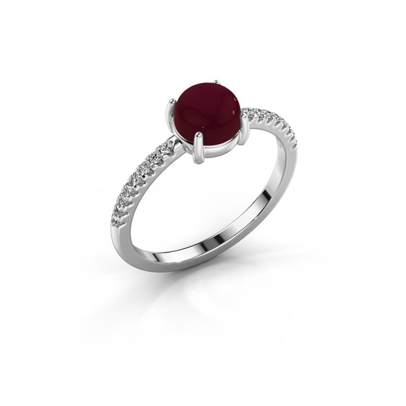Ring Cathie 585 witgoud granaat 6 mm