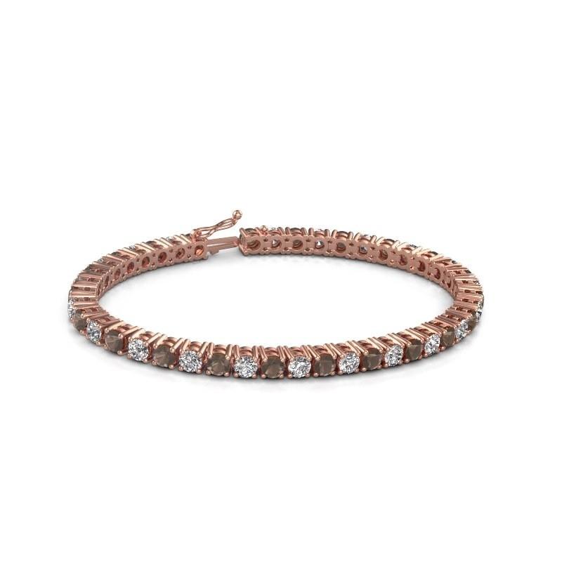 Tennis bracelet Karin 375 rose gold smokey quartz 4 mm