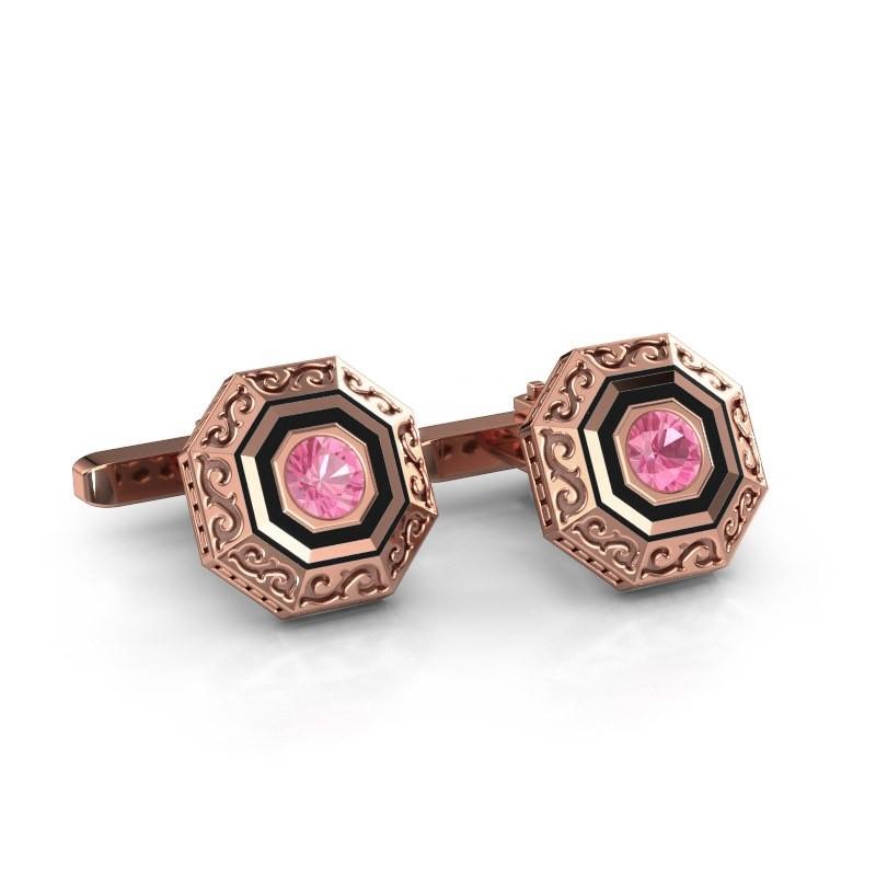 Cufflinks Dion 375 rose gold pink sapphire 5 mm