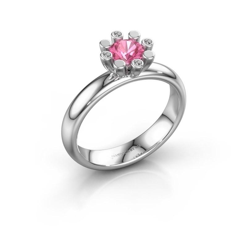 Stapelring Carola 2 950 platina roze saffier 5 mm