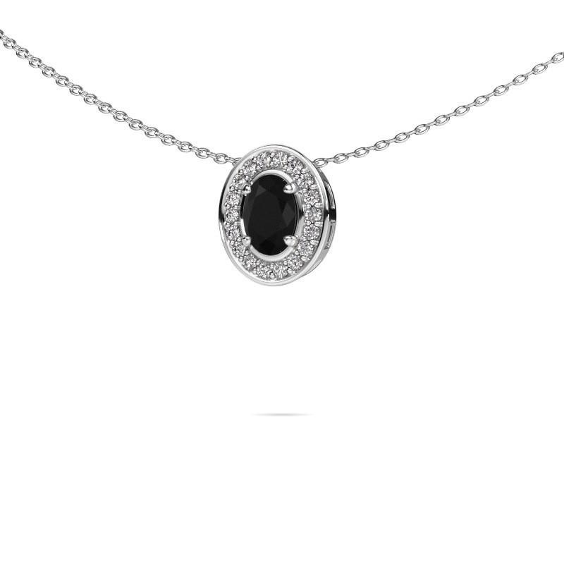 Ketting Madelon 585 witgoud zwarte diamant 0.78 crt