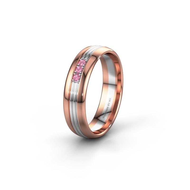 Trouwring WH0405L35X 585 rosé goud roze saffier ±5x1.5 mm