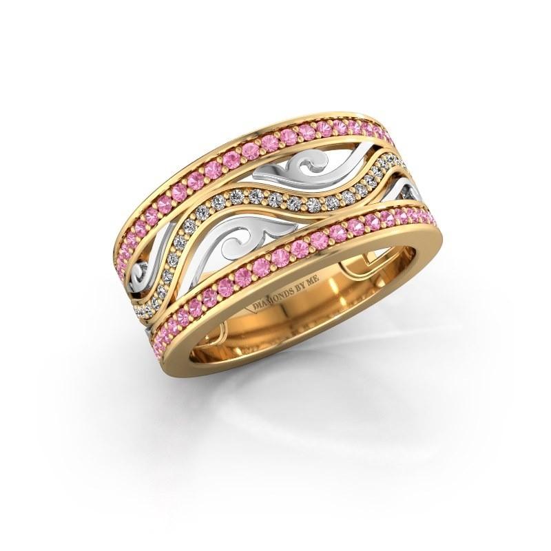 Ring Louvenia 585 goud roze saffier 1.2 mm