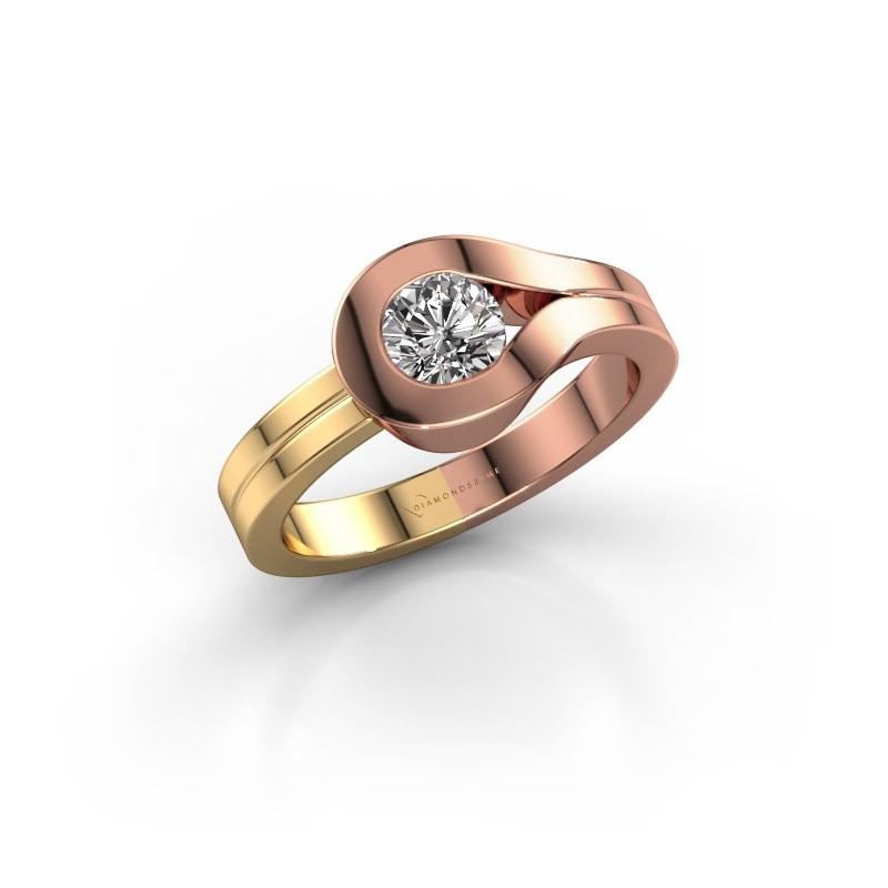 Ring Kiki 585 rosé goud diamant 0.10 crt