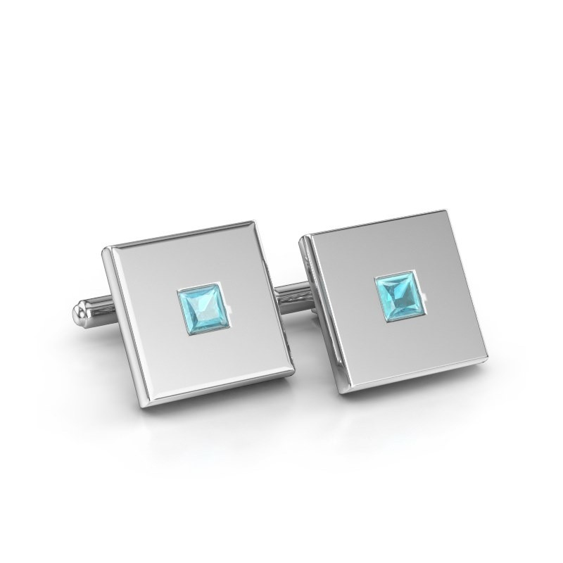 Cufflinks Givanti 925 silver blue topaz 4 mm