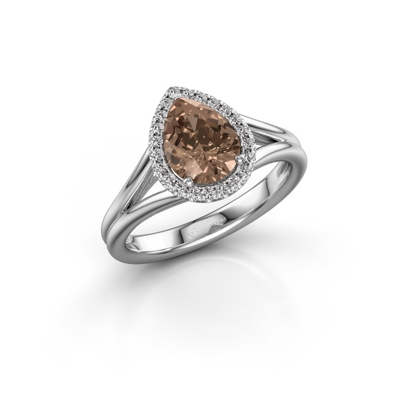 Verlovingsring Verla pear 1 925 zilver bruine diamant 1.097 crt