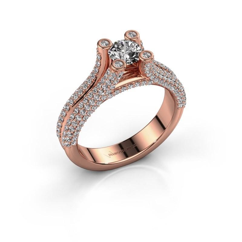 Verlovingsring Stefanie 2 375 rosé goud diamant 1.50 crt