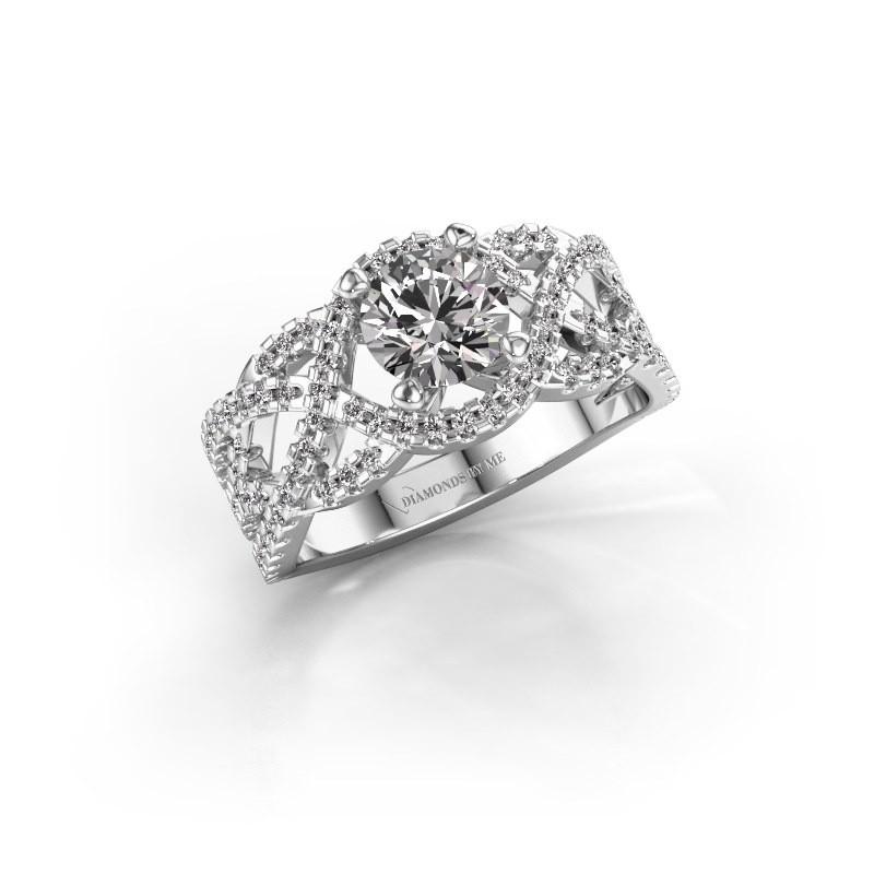 Bague de fiançailles Jeni 585 or blanc diamant 1.523 crt